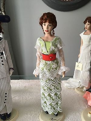 "FRANKLIN MINT TITANIC 16"" Vinyl Rose Doll in TEA Gown Ensemble +Jewelry No Stand"