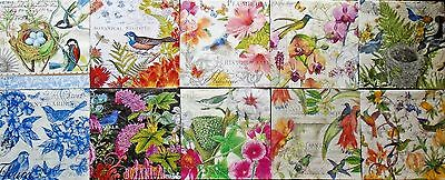 Set of 10, Paper Cocktail Napkins for Decoupage and Paper Crafts, Birds & Floral
