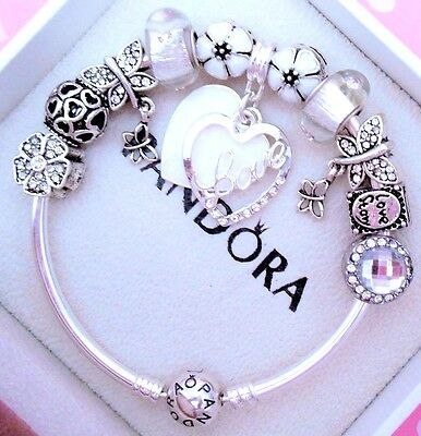 Authentic Pandora Silver Bangle Charm Bracelet With Love Story European Charms.