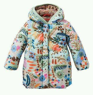 Oilily Girls Unicorn Mint Green 'All over Painterly' Padded Winter Coat Age 10