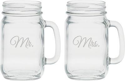 Culver 2 Piece Etched Mr. and Mrs. Handle Jar Set, 16 Ounce