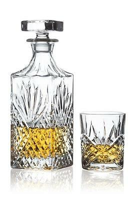 Brilliant Ashford Lead Free Crystal 5 Piece Whisky Set Decanter and Glasses