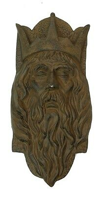Cast Iron Wall Hanging King Head Crown Sculpture Antique Style Decor 15x7""