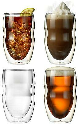 Ozeri DW12S 4 Serafino Double Wall Insulated Beverage and Coffee Glasses, 12...