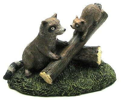 """Colorful Resin Raccoons on Log Statue Sculpture Figurine Decor 5.5 x 3.6 x 2.8"""""""