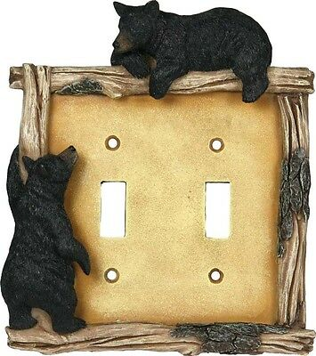 Bear Double Switch Plate Cover Poly Resin Outlet Wall Decor 6.25 x 5.25 x 1""