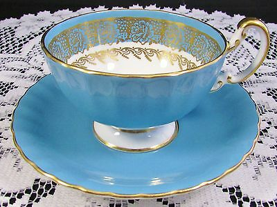Aynsley Sky Blue Gold Gilt Roses Oban Tea Cup And Saucer