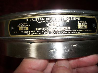No. 100 USA Stardard Testing Sieve 50 Microns w/ Collecting Pan Used Made in USA