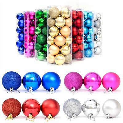24Pcs 4cm Xmas Tree Ball Bauble Hanging Ornament Home Party Holiday Decor hot FB