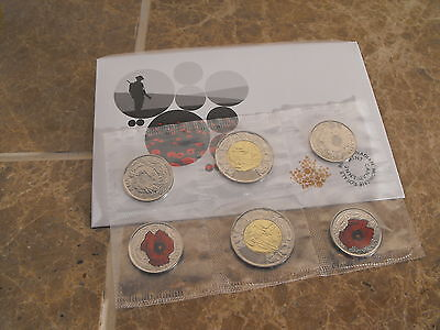 Canada Remembrance 2015: Set of 2x2 Dollars and 4x25 Cents - Poppies/Coloured
