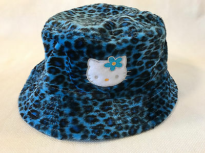 Rare Hello Kitty Sanrio Blue Leopard Print Bucket Hat, 2000, NEW