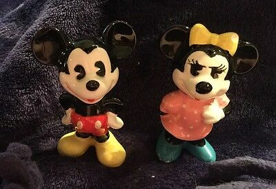 Vintage Mickey and Minnie Mouse Figurines Walt  Disney Made In Japan