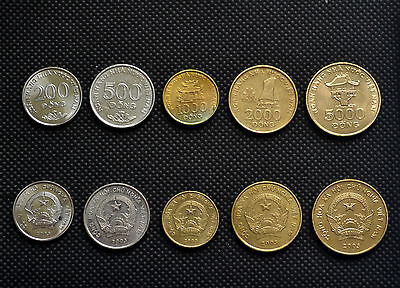 Vietnam sets of coins. 1 set of five coins. 200, 500, 1000, 2000, 5000 Dong.