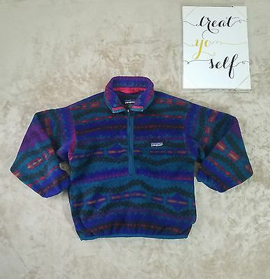 Patagonia Kid's Fleece Quarter Zip Pullover Sweater Size 8 Warm Tribal Print -C2