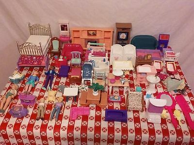 Dollhouse Furniture Huge Lot  Mixed Lot Plastic some Fisher Price Mattel & other