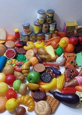 Huge Lot of 130 Play Food Child Play Pretend House Kitchen Plastic Fruit Pizza