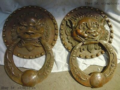 L 45 cm China Brass carved finely luck lion and tiger knocker pair statues
