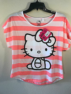 Rare Hello Kitty Sanrio Coral & White Stripe T-Shirt, Small, 2013, NEW WITH TAG