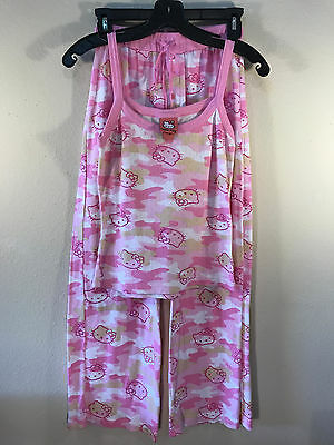Rare Hello Kitty Sanrio Pink Camouflage Sleepwear Pajamas Top Pants Set, 2008