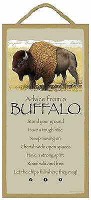 Advice from a Buffalo Inspirational Wood Wild Animal Sign Plaque Made in USA