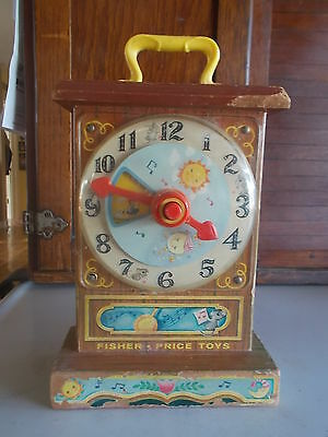 1962 Fisher Price Toys TICK-TOCK TEACHING CLOCK Musical #997 Wooden Top Works...