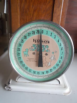 Vtg. HANSON Nursery Scale #3025 MISSING TRAY Upto 30-Lb Northbrook, ILL. Works.
