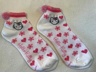 Rare Hello Kitty Sanrio Pink Heart Flower Iridescent Pom-Pom Tennis Socks, NEW