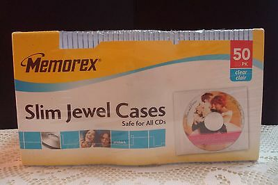 New & Sealed Memorex Slim Clear Jewel Cases 50PK Free Shipping