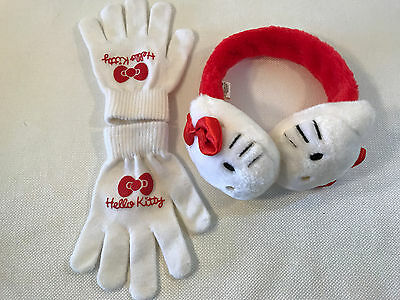 Rare Hello Kitty Sanrio Red Bow Earmuffs & Gloves Set, 2004, NEW