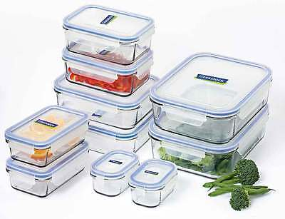 Glasslock Food Container Set 10 Piece Tempered Glass RRP $189.95