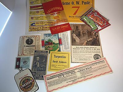 Ephemera lot advert page soda bottle label product tags acme RCA almonds bond