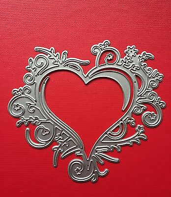 NEW• DOUBLE HEARTS FLOURISH DIE For Use With Cuttlebug Or Sizzix
