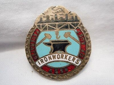 Vintage  Enamel Federated Ironworkers Assn Of Aust Badge Amor Sydney