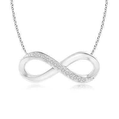 "Sideways Round Diamond Infinity Pendant Necklace 18""Chain Silver/ 14k White Gold"