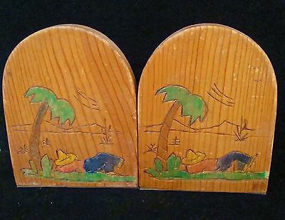 """Vintage Carved Wood Mexican Book Ends Siesta Palm Tree Folk Art Hand Painted 6"""""""