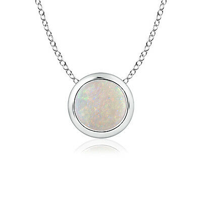 "Solitaire Round Opal Diamond Pendant Necklace 14k Gold/ Platinum with 18"" Chain"