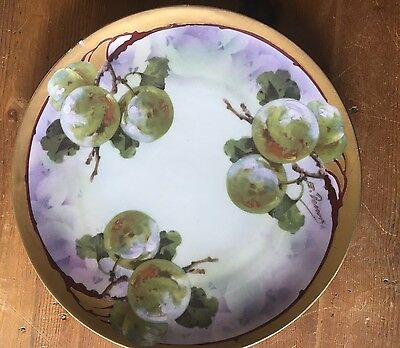 Stunning Colors Antique Turn Vienna Handpainted Ernst Wahliss Apple Plate Signed