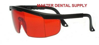 Protective Eyewear Goggle RED Black Frame LARGE Adjustable Safety Filter Glasses