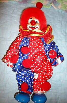 Vintage Clown, Red & Blue White Polka Dots, Porcelain Hands, Feet, Face,  13.5,