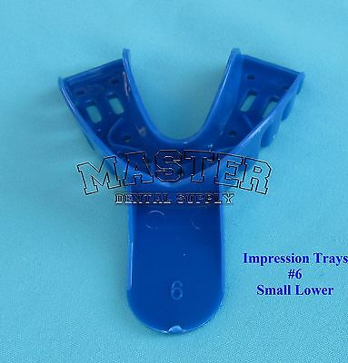 Disposable Dental Impression Trays Blue Perforated # 6 SMALL LOWER 12 Pcs/Bag