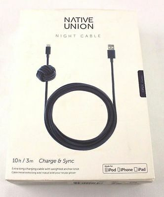 NEW Native Union - NIGHT 9.8' USB-to-Apple® Lightning Cable -Marine DH919