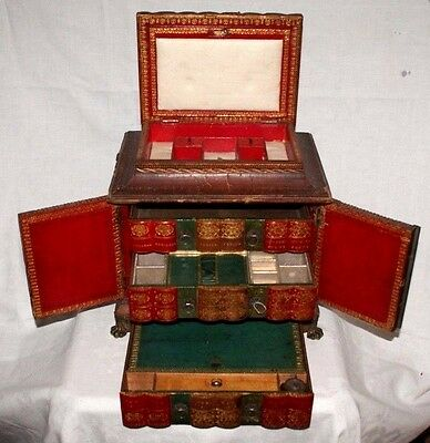 A Rare Attractive Regency Escritoire Table Cabinet, Writing Tray, Sewing Tray