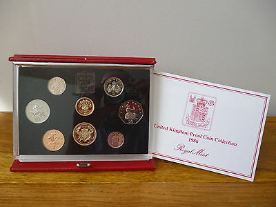1986 Proof Coin Set Housed In The Red Leather Deluxe Case With Leaflet Outer Box