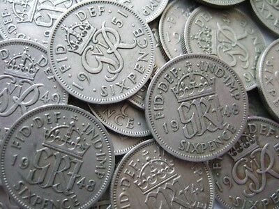 GEORGE 6TH SIXPENCES X 100 DATES ARE MIXED 1947-1951 100 sixpence coins mix date