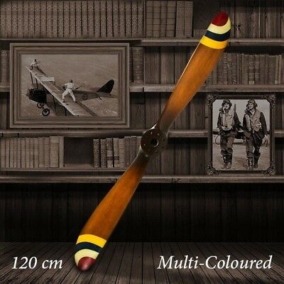 Barnstormer Wooden Vintage Airplane Propeller - 120cm Multi-Coloured Stripes