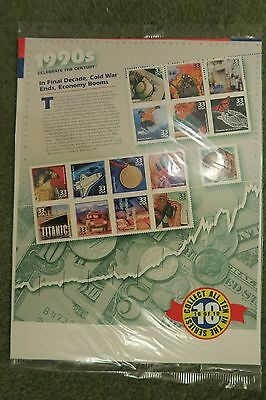 USA  STAMPS 2000 Celebrate Century 1990s sheet of 15 x 33 cent unopened USPS