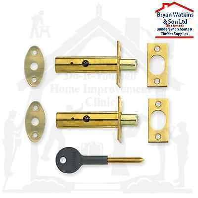 2x 60mm Brass Security Rack Bolt Dead Bolt Set for Windows & Doors Star Key Incl