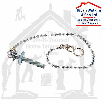 """Ball Chain with hooks and Sink Stay for Bath, Basin, 12"""" or 18"""" Chrome or Brass"""