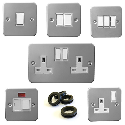 Heavy Duty Metal Clad Electrical Sp/dp Sockets / Switches Shed & Garage W/screws