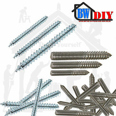 Wood To Wood To Metal Dowels Zinc Plated M6, M8, M10, Furniture Fixing Screws